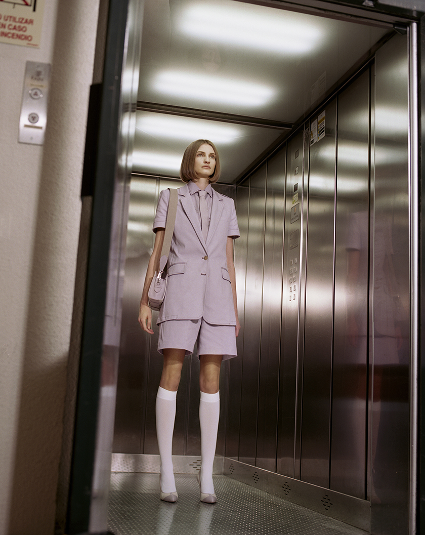 The elevator editorial styled by Francesca Rinciari represented by 8AM | 8 Artist Management
